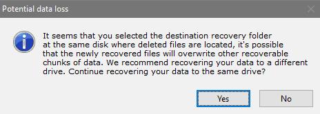 Destination Folder Warning in Disk Drill