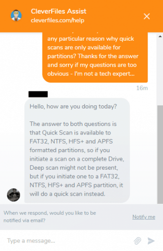 Live Chat With Disk Drill's Staff