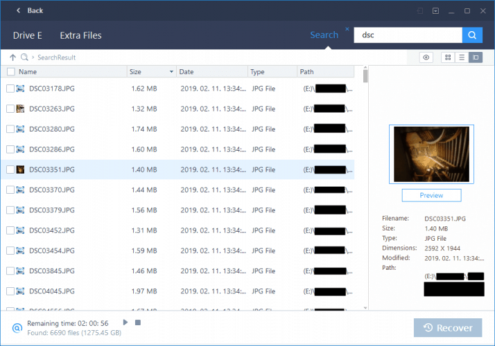Filtering With EaseUS's Search Bar