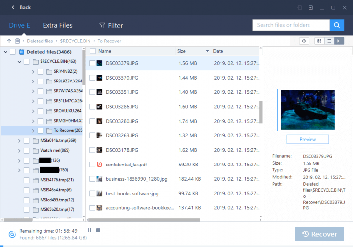Previewing Files in EaseUS