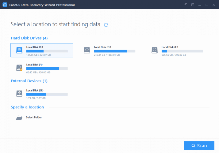 Setting up the Scan in EaseUS Data Recovery Wizard