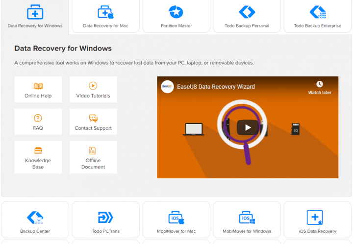 Support Page for EaseUS Data Recovery Wizard