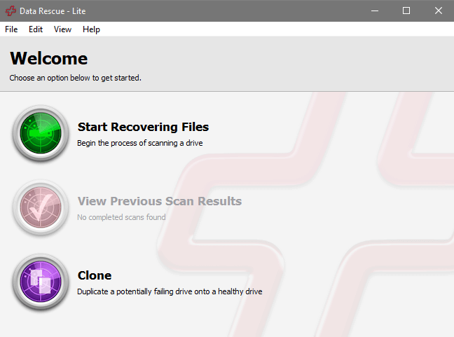 Data Rescue 5's Standard User Interface