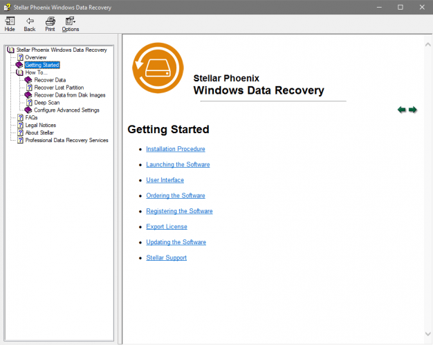 Stellar Windows' Built-In Help Guide