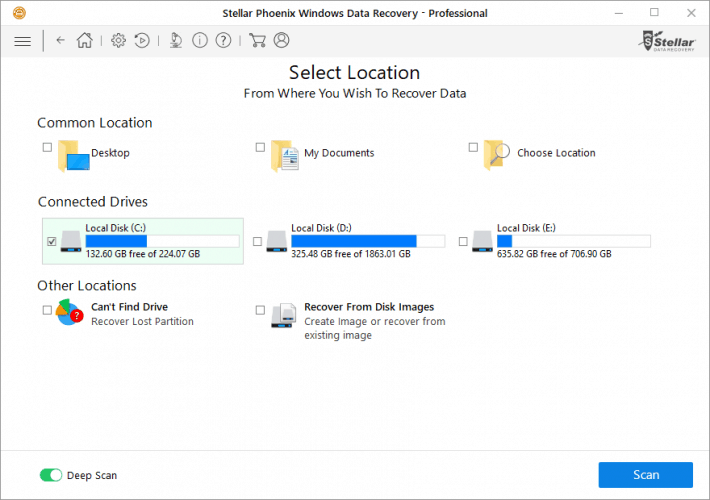 Selecting Drive to Be Scanned in Stellar Windows