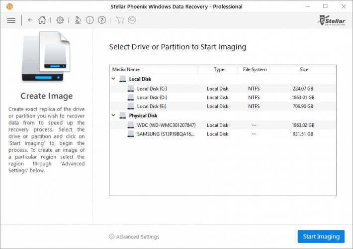 Disk Image Creator in Stellar Windows