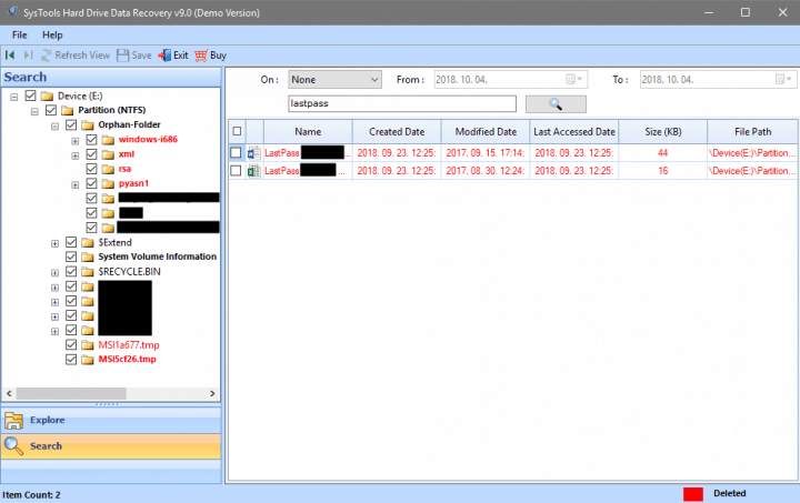 Filtering Recovered Files by Name in SysTools