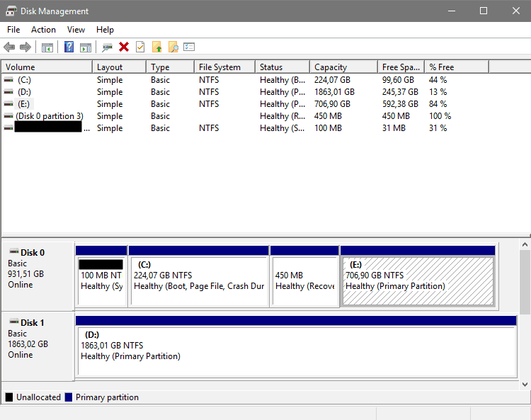 Drives Detected by Disk Management