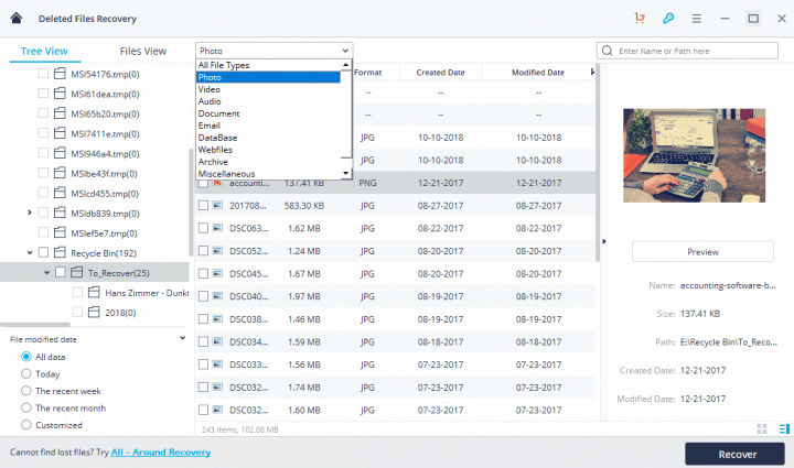 File Filtering Options in Tree View