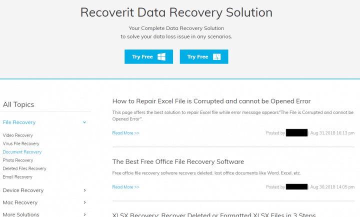 Tips for Using Recoverit on the Company's Website