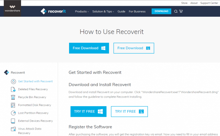 Online User Manual for Recoverit